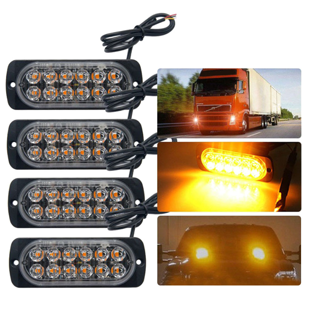 Emergency Strobe Lights For Trucks Amber Recovery Car 12 Led Lighting Bar Orange Grill Breakdown Flashing 12/24V Amber Led