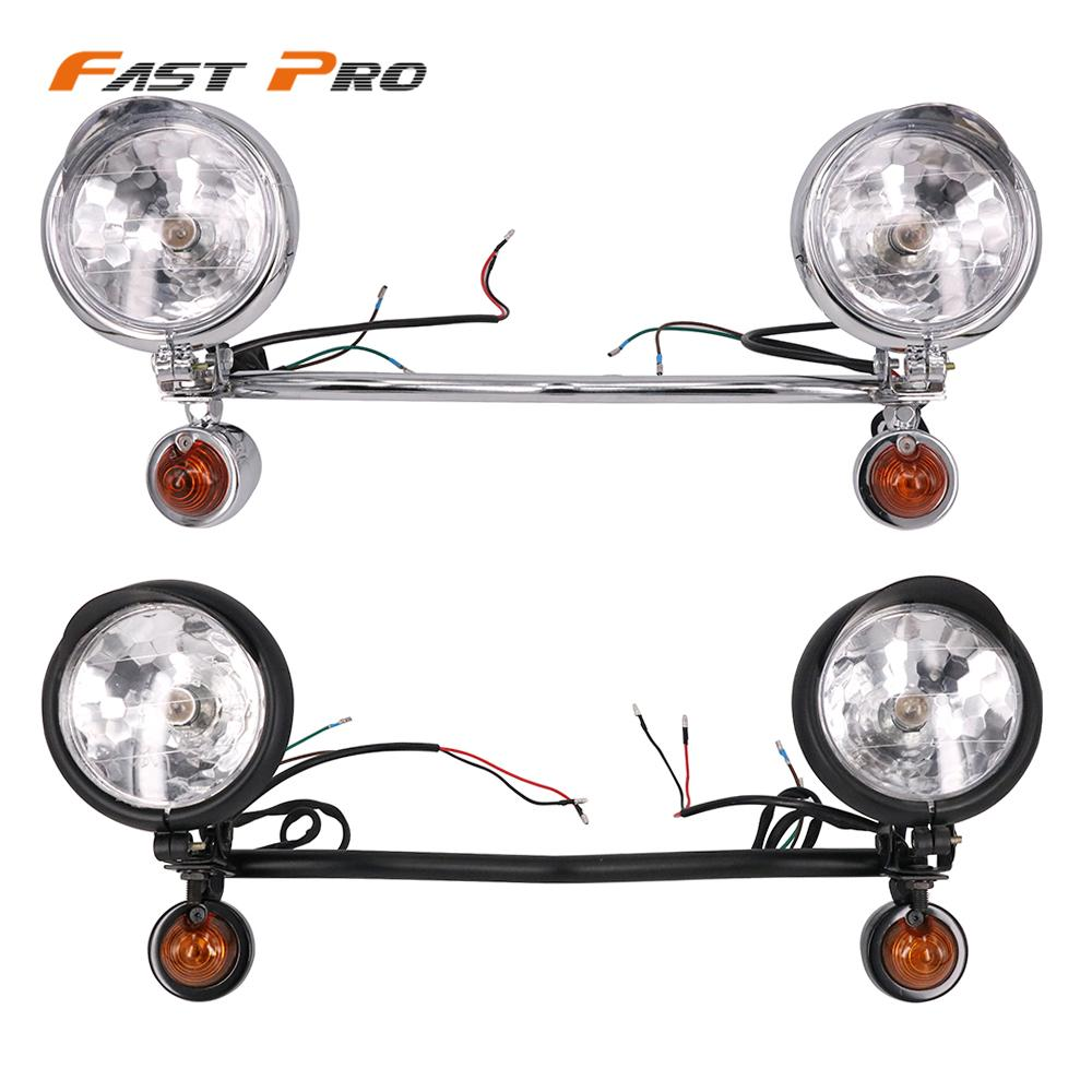 12V Motorcycle Retro Headlights Turn Signal Light Fog Light Auxiliary Lamps Scooter Motorbike For Honda Harley Suzuki Cafe Racer