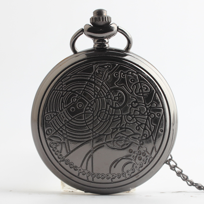 Pocket & Fob Watches Black Circle Quartz Pocket Watch Pendant Chain Necklace for Women/Men Watch Gift