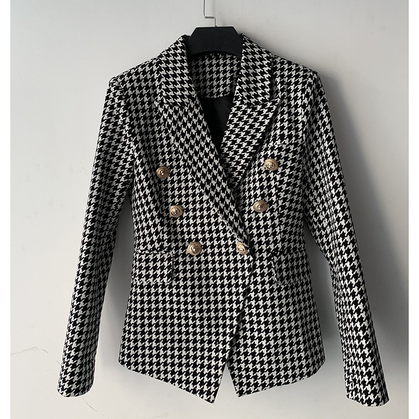 European and American Foreign Trade Hot 2020 Women's Jacket Double Breasted Metal Lion Buckle Houndstooth Slim-Fit Small Suit