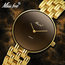 MISSFOX 41mm Black Minimalist Watch Super Slim Cheap Womens Watches Water Resistant Wristwatch Female Simple Clock For Women