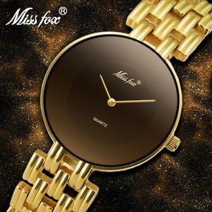 Image 1 - MISSFOX 41mm Black Minimalist Watch Super Slim Cheap Womens Watches Water Resistant Wristwatch Female Simple Clock For Women