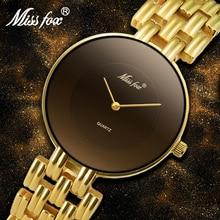 MISSFOX 41mm שחור מינימליסטי שעון סופר Slim זול נשים שעונים מים עמיד שעוני יד נקבה פשוט שעון לנשים