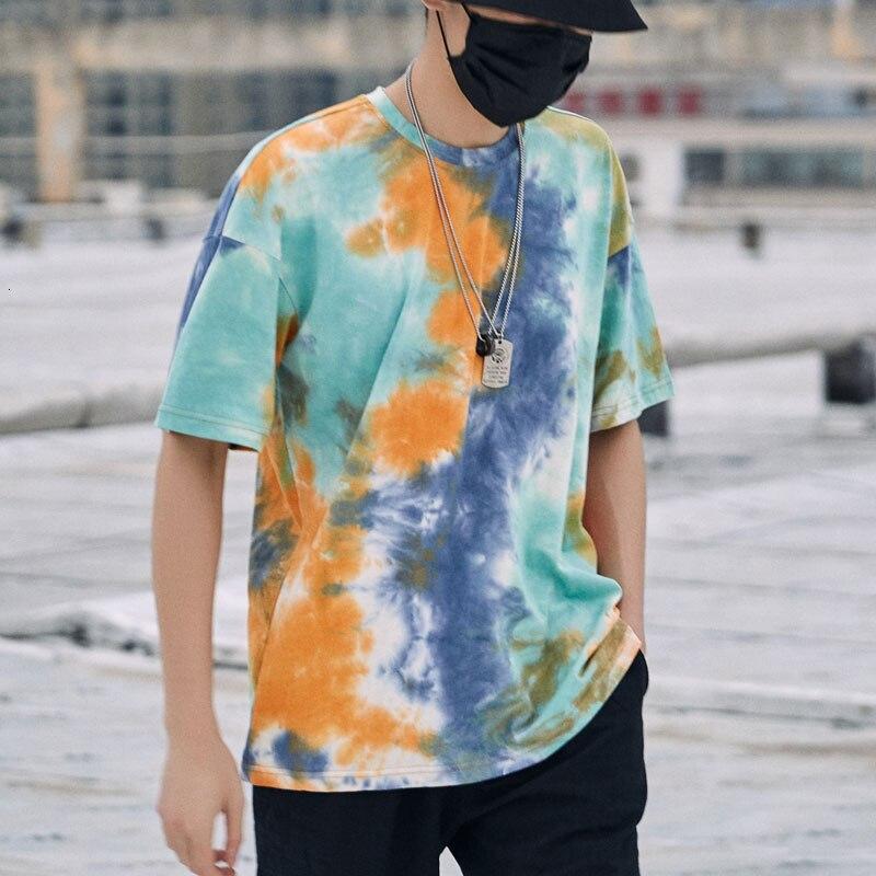Privathinker Tie Dye Oversized T Shirts 2020 Man Hip Hop T-shirts Korean Men Streetwear Tshirt Top Tees Men Clothing