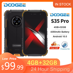 DOOGEE S35 Pro Android 10.0 IP68 Waterproof Rugged Phone Quad Core 1.8GHz 12nm 4GB+32GB Mobile Phone 4350mAh Battery Smartphone