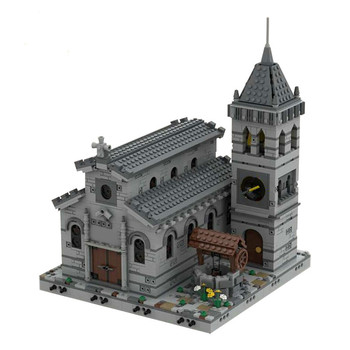 Buildmoc Medieval Church Modular Notre-Dame Building Blocks Vintage Famous Architecture bricks Toys For Children