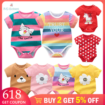 Baby Girl bodysuits Summer newborn cotton Clothes for boys and girls Twins baby clothing short sleeves Cartoon Bodysuit pajamas bodysuits veselyy malysh 42132k goluboy baby clothing bodie overalls for kids girls and boys