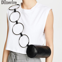 DIINOVIVO Retro Metal Ring Handbag Female Fashion Circular Crocodile Messenger Bags Small Round Shoulder Bag Women WHDV1189