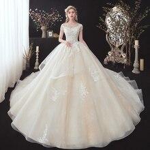 반짝 이는 구슬 아플리케 레이스 럭셔리 볼 가운 웨딩 드레스  Vestidos 모자 슬리브 채플 기차 공주 신부 가운