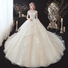 Shiny Beading Appliques Lace Luxury Ball Gown Wedding Dress  Vestidos Cap Sleeve Chapel Train Princess Bridal Gowns