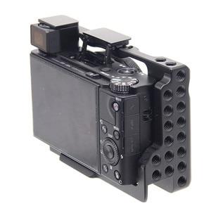Image 2 - אלומיניום סגסוגת מצלמה כלוב מגן מקרה עבור Sony RX100 M7 VII 7 שחרור מהיר צלחת מייצב מתאם w/ 1/4 חוט חורים