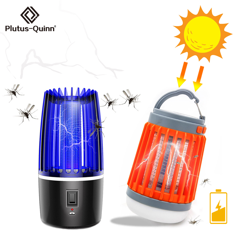 2020 Solar Cell/USB Rechargeable Electric Mosquito Killer Lamp High/Low Light UV Mosquito Zapper Lamp For Bedroom Garden Camping