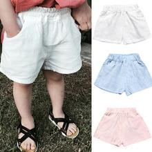 2021 Baby Boys Shorts Summer Cotton Solid PP Linen Shorts For Girls Harem Pants Toddler Children Short Casual Kids Clothing 1-7y