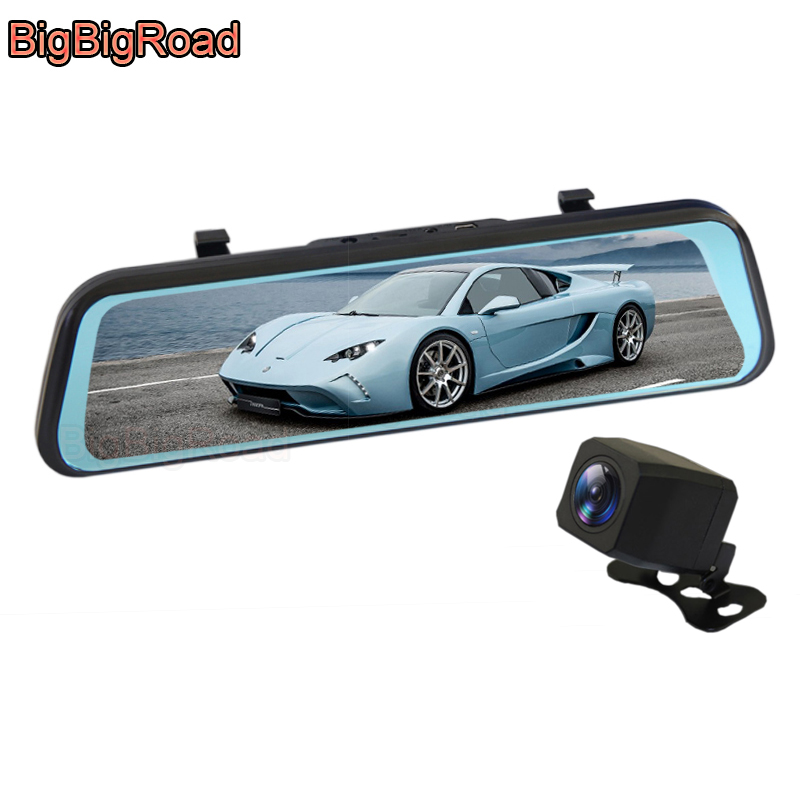 BigBigRoad Car DVR Dash Camera Stream RearView Mirror IPS Screen For Kia KX7 Soul K3S RIO Creato Borrego Stinger Carnival Shuma image