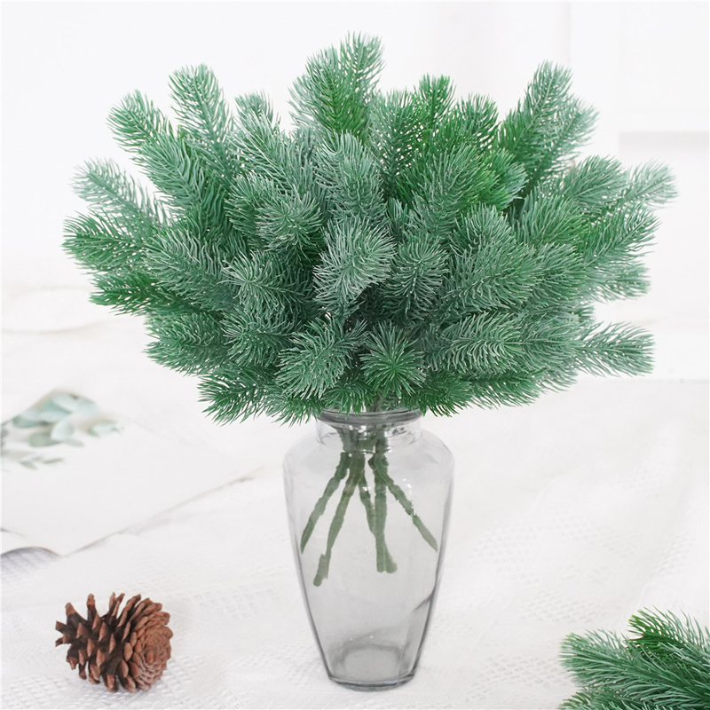 Plastic Grass Pine Needle Artificial Fake Green Plant Branch Christmas Tree Decor Wedding Home Accessories DIY Bouquet Gift Box