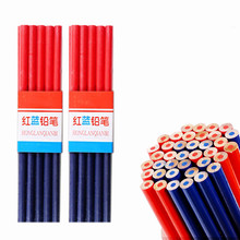 Double Head Red Blue Woodworking Pencil Round Wooden Colored Carpenters Mark Pencil for DIY Builders Joiners Tool Stationery Pen