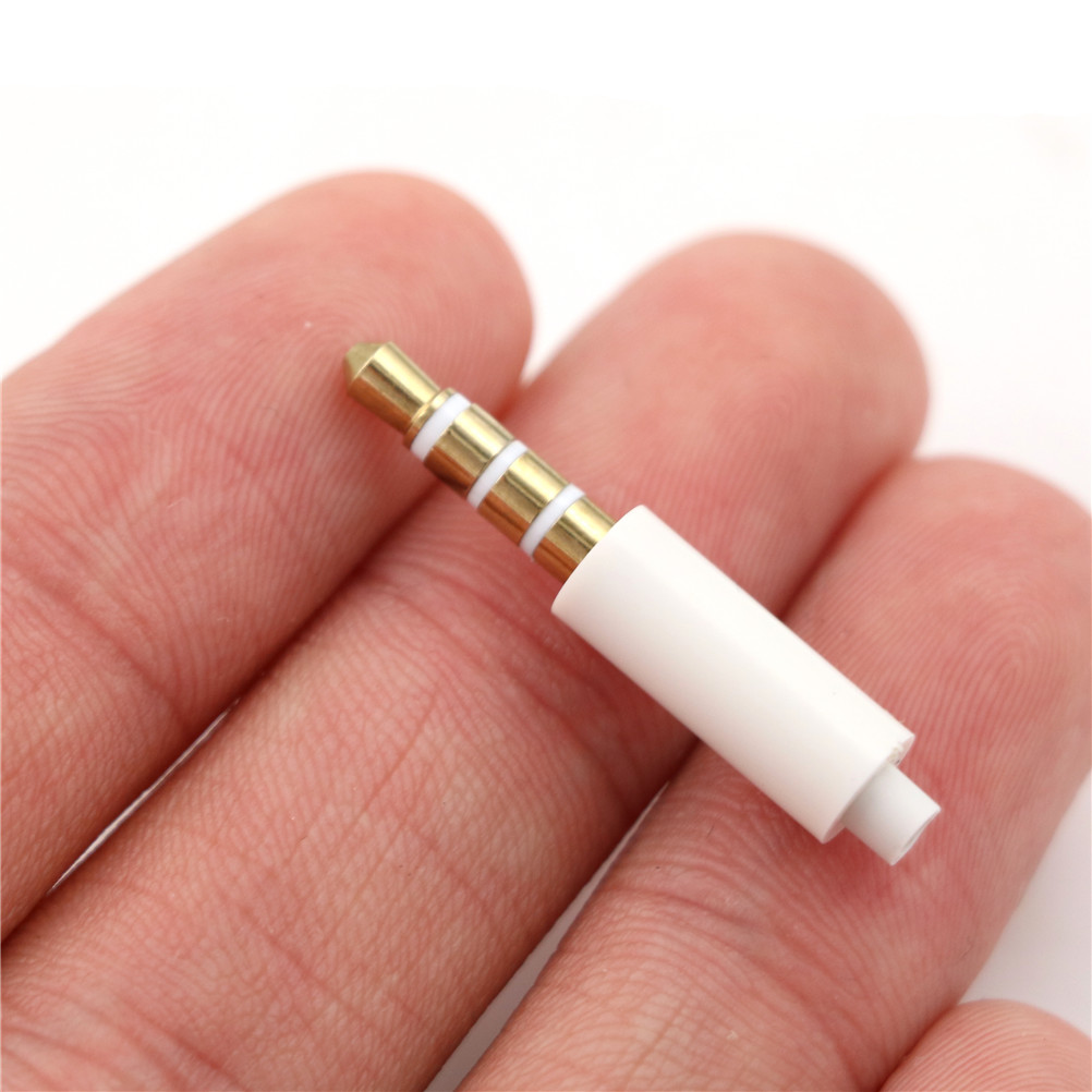4pcs/lot 3.5mm Stereo Headset Plug With Tail 4 Pole 3.5 Mm Audio Plug Jack Adaptor Connector For Iphone White