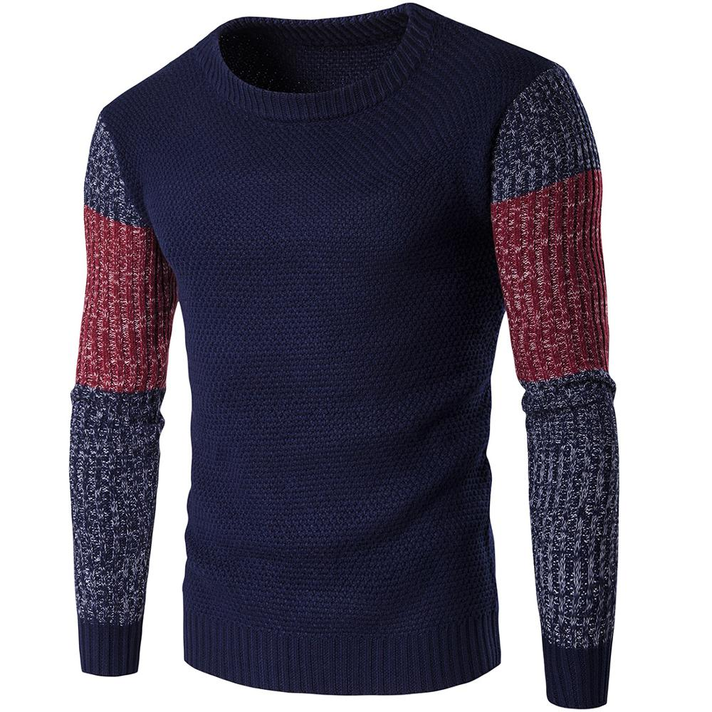 Bottoming Shirts Patchwork New 2019 Fashion Sweater MOOWNUC Male Sweaters Autumn Casual O-Neck Pullover Slim Windproof Homme Men