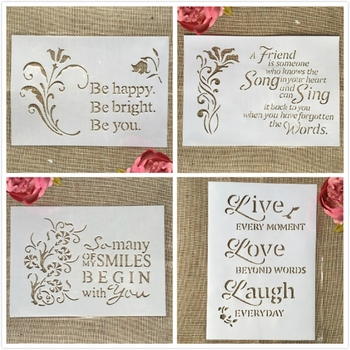 4Pcs/Lot 29cm A4 Bless Words Love DIY Layering Stencils Painting Scrapbook Coloring Embossing Album Decorative Template