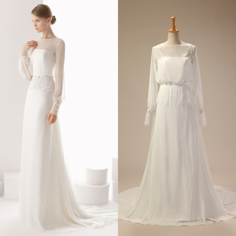 Chiffon Long Sleeve A-line Simple Detachable Bridal Wedding Gown Real Sample Photo Factory Price