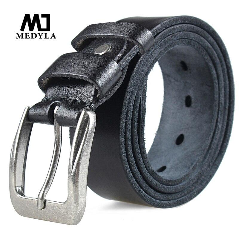 MEDYLA Fashion Men's Belt Top Natural Genuine Leather Sturdy Buckle Men Vintage Belt Suitable For Jeans Casual Pants