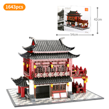цена на Creator Blocks Architecture Series China Ancient Hotel Chinatown chinese style model Building Bricks Toys for Children Gift