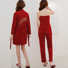 Velour Embroidery Sleepwear Female with Chest Pads Sexy Women Pajamas Lace Sleep