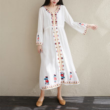 #0336 Blue White Red Yellow Vintage Linen Dress Long Loose V Neck Retro Midi Dress Embroidery Floral Retro Dresses Long Sleeves