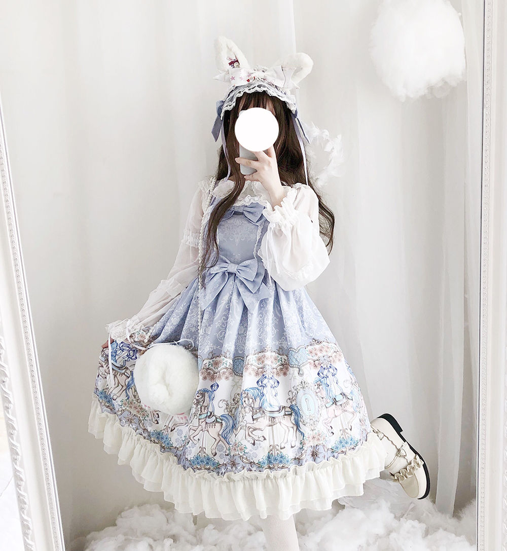 Sweet Lolita Dress Vintage Printing Merry-go-round JSK Cute Dress Lolita Bowknot Lace Kawaii Girl Gothic Lolita Cos Loli Dress