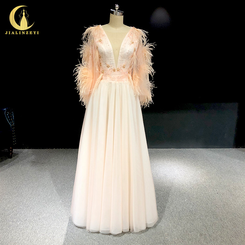 Rhine real Pictures Cape Sleeves V Neck with Feathers Nude Pink arabic formal dress evening dresses long 2020