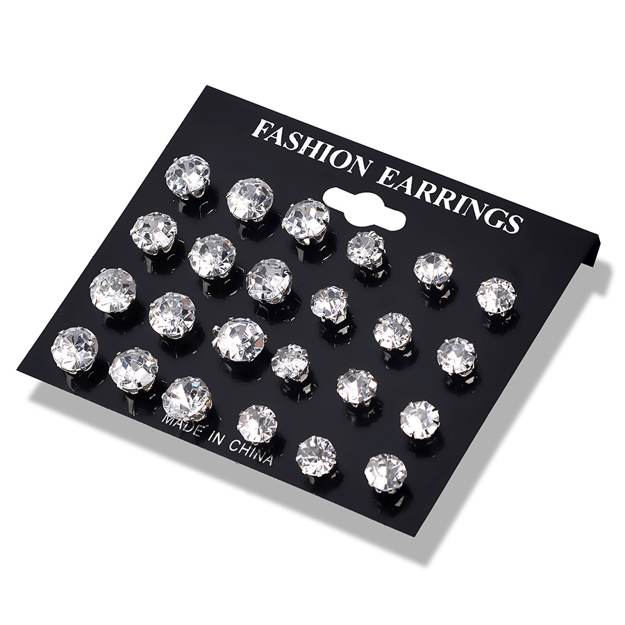 12 Pair Size Color Zircon Stud Earrings SET Shine Crystal Ear Studs for Men&Women Punk Party Jewelry Fashion Mini Earring
