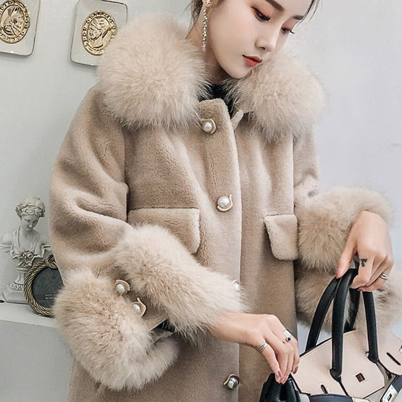5xl Plus Size Faux Fur Female Jacket Overcoat Fox Fur Collar High Imitate Fur Loose Winter Coat Women Plus Size Outerwear Coats