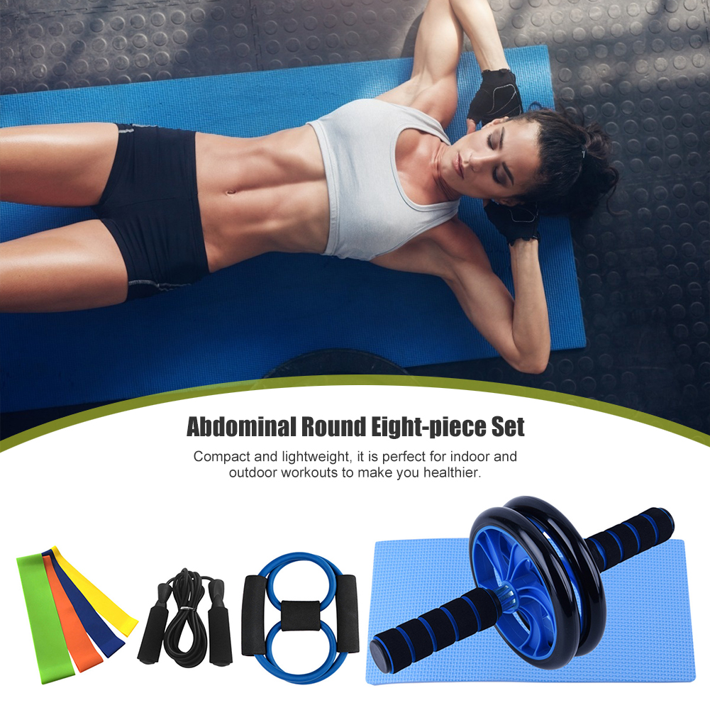 8 in 1 Fitness Equipment Set Women Men Home Exercise Tools Ab Roller Wheel Resistance Band Jump Rope Pull Rope 23x19x9.5cm image