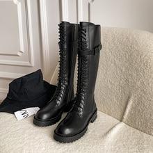 Sklfgxzy Europese Echt Leer Vrouwen Laarzen Martin De Knie Laarzen Lace-Up De Meisje Vrouwen Schoenen