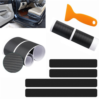 4pcs Carbon fiber Door Sill Scuff Car Door Plate Car Stickers For Peugeot 301 308 308S 408 2008 3008 4008 5008 Car Accessories image