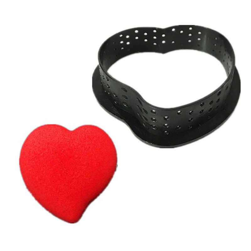 รอบรูปไข่รูปร่างเค้กแม่พิมพ์Mousse Perforated CUTTERเครื่องมือตกแต่งขนมหวานDIY Perforated Ring Non Stick Bakeware Tart