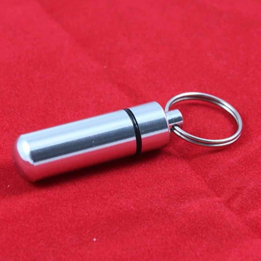 مفتاح حامل الألومنيوم مقاوم للماء حبوب منع الحمل على شكل صندوق زجاجة حامل الحاويات المفاتيح الطب كيرينغ المفاتيح صندوق الأكثر مبيعا