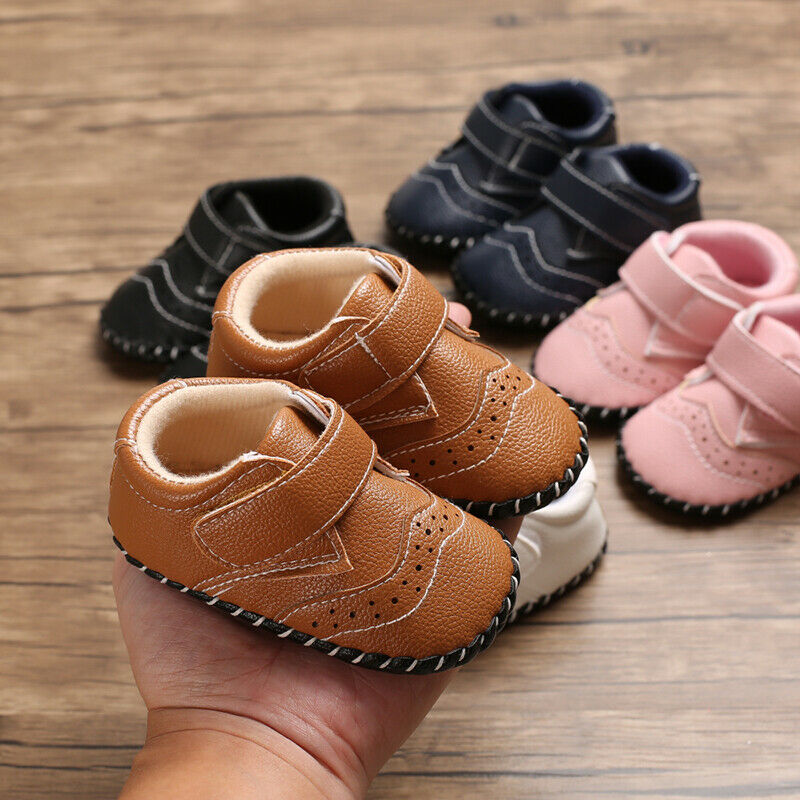Hot Infant Baby Boy Girl Soft Sole Crib Newborn Leather Non-slip Shoes Sneaker