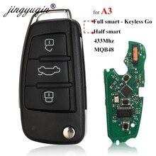 Jingyuqin 아우디 A3 S3 MQB KeylessGo/세미 지능형 원격 키 3 버튼 접는 플립 스마트 자동차 키 Fob 433Mhz