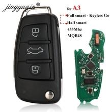 Jingyuqin สำหรับ Audi A3 S3 MQB KeylessGo/กึ่งอัจฉริยะ REMOTE KEY 3 ปุ่มพับสมาร์ทคีย์ Fob 433 MHz