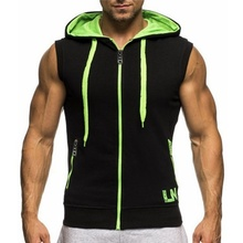 PLUS SIZE S-XXXL Mesh Mens Sleeveless letter Printing Tank Top Hooded Vest