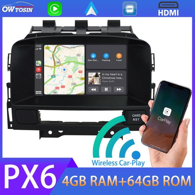 Android 10.0 PX6 4 + 64G Gps Auto Multimedia Speler Voor Opel Vauxhall Holden Astra J 2010 2014 draadloze Carplay TDA7850 Radio Hdmi