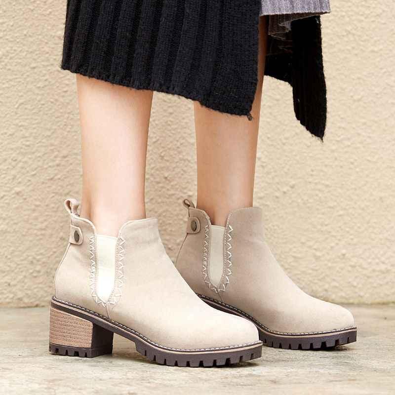 ALLBITEFO yüksek kaliteli akın saf renk kadın botları rahat yuvarlak ayak yarım çizmeler eğlence muhtasar moda Martin çizmeler