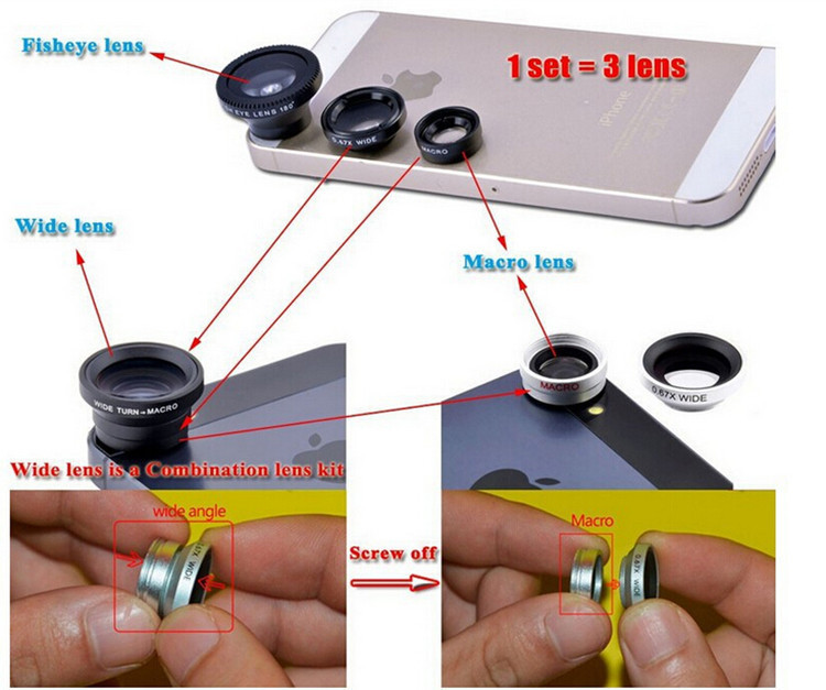 Universal 3 In 1 Clip Fisheye Phone Camera Lens for iPhone Samsung Huawei Sony Smartphone 4