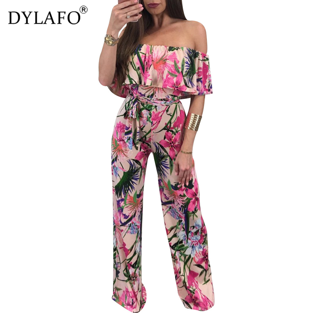 2020 Bohemian Floweral Print Lace Up Jumpsuits&Rompers Off Shoulder Plus Size Women Jumpsuit Summer Beach Sexy Jumpsuit Overalls