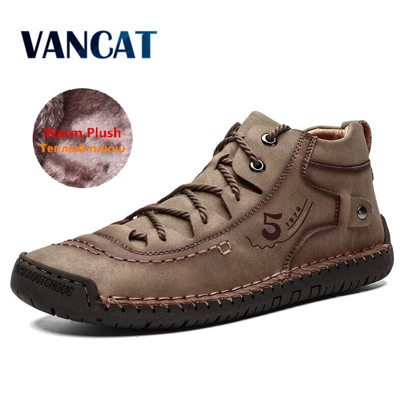 Brand Comfortable Men Ankle Boots Quality Split Leather Shoes Men's Snow Boots Winter Shoes Warm Fur Men's Boots Big Size 39-48