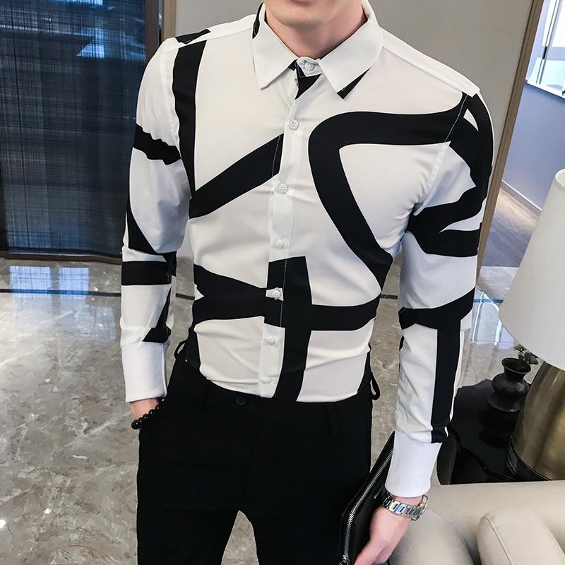 2019 Designer Shirts Men Dress Mens Shirts Casual Slim Fit Long Sleeve Camisa Masculina Streetwea RNight Club Party Social Shirt