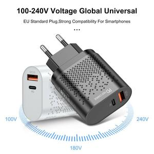 18W PD Fast Charger For Xiaomi USB C Quick Charging QC 3.0 Phone Adapter US EU Plug Type-C Chargers For Huawei Sumsang