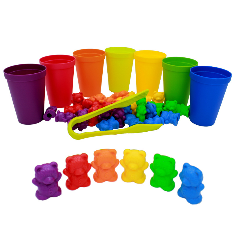 6 set Counting Bears With stickers Stacking Cups Montessorily Rainbow Matching Game Educational Color Sorting Toys For Toddlers(China)