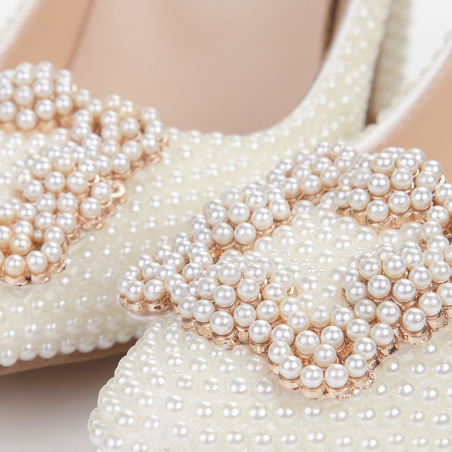 Soft Pearl White Pointed High Heels Crystal Marriage Shoes High-Heel Platform Shoes Wedding Formal Dress Single Shoes